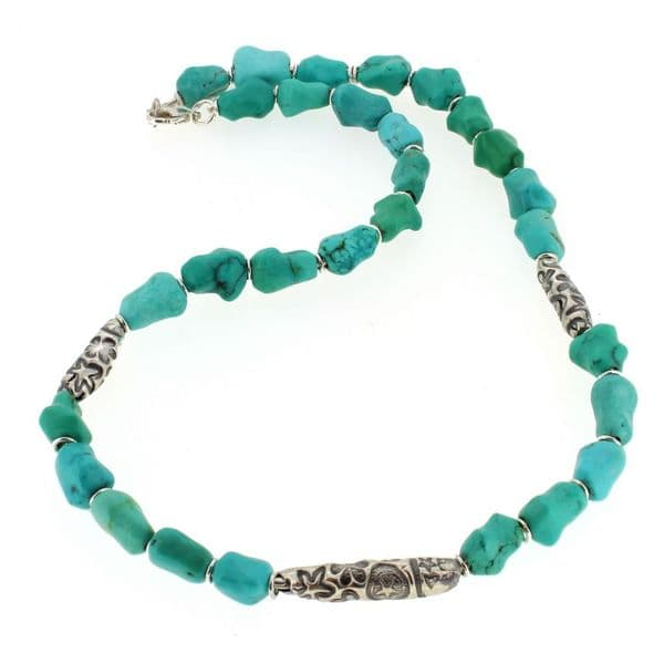 Turquoise necklace with sterling silver unique patterned beads
